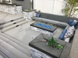 Alaska Gray marble ledger stone veneer San Jose patio retaining wall