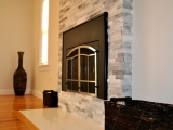 White Crystal gray stone marble Ledger Panel fireplace wall tile
