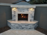 White Gray marble around fireplace stone tile panels Fremont