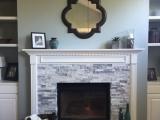 White marble fireplace tile ledger stone veneer San Jose