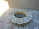 California Gold Stacked Ledger stone veneer outdoor fire pit San Jose California