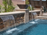 California Gold ledger stone veneer panels outdoor waterfall Saratoga