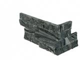 Glacial Black Stacked Marble Wall Tile Panel Corner LPNLMGLABLK618COR
