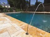 MS International Tuscany Riviera Travertine coping aroud pool San Jose