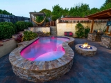 Golden White Stacked Stone around pool San Jose