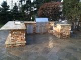 Golden White Stcaked Stone Ledger Veneer Flats outdoor kitchen Los Altos