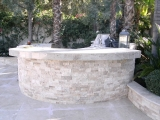 Ivory travertine stacked stone ledger panels for seating walls Cupertino