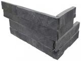Premium Black Stacked Stone Panel Corner LPNLSPREBLK618COR