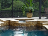 Tuscany Scabas travertine ledger stack stone panel Los Altos