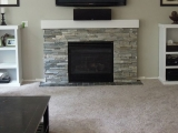 Sierra Blue Quartzite Ledger Stone Fireplace Surround San Ramon