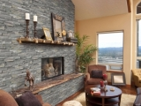 Sierra Blue Stacked Stone Veneer Fireplace Los Gatos