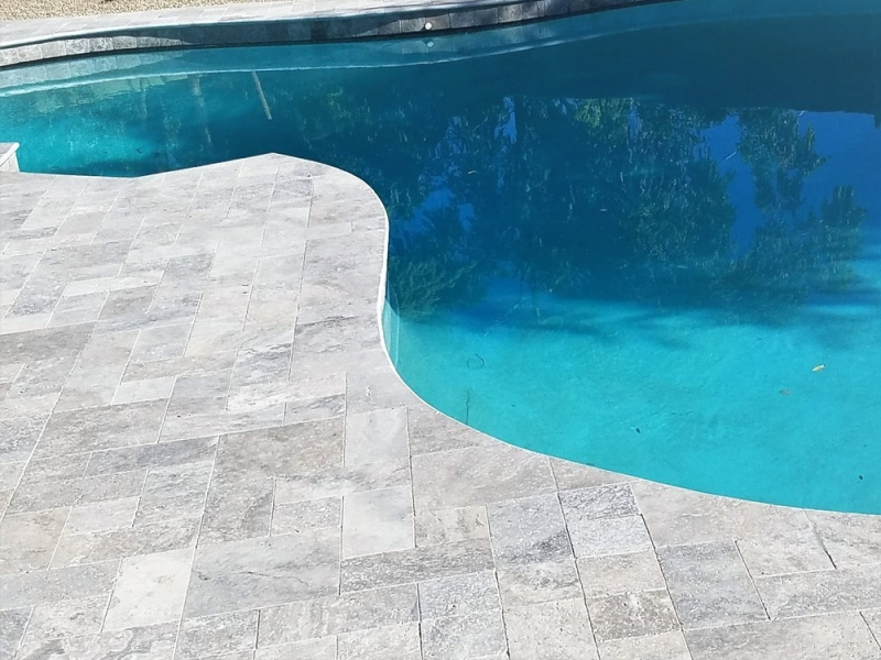 Silver Travertine Tumbled Pavers