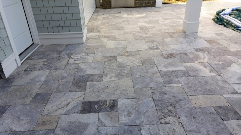 Silver Travertine Tumbled Pavers Silver Mist Travertine