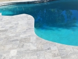 Gray patio stone travertine pool deck Livermore