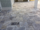 Gray travertine versailles pattern pavers for outdoor patio Woodside