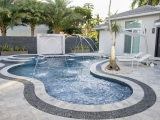 Silver patio stone travertine tile pool decking Burlingame