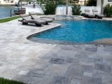Silver travertine paver versailles pattern patio pool coping San Jose Califronia