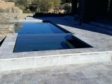 Silver travertine pavers around pool deck versailles pattern San Jose
