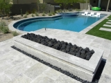 Silver travertine tumbled edge Pavers and  around pool coping travertine tile Atherton