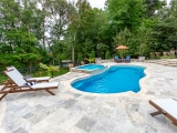 Silver Travertine Pavers pool deck