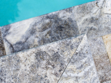 12x24 Silver gray travertine pool coping LCOPTSIL1224HUF