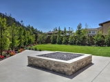 MS International Silver Travertine Stacked Stone LPNLTSIL624 panels for outdoor fire pit Woodside