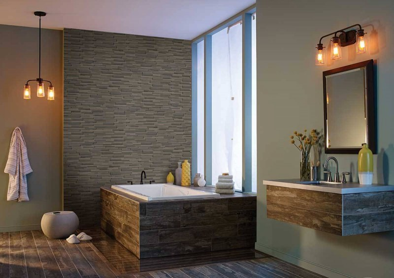 Brown Wave stacked stone ledger flat panels for fireplace