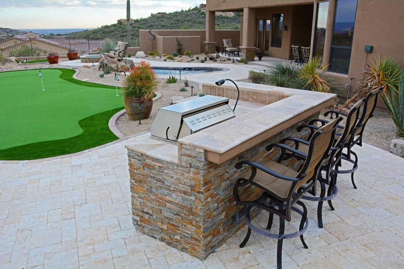 MSI Canyon Creek Ledger Panels stacked stone for outdoor bbq and kitchen Mountain House