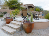 Canyon creek stacked stone seating wall tile Portola Valley
