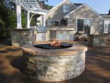 Golden Honey Stacked Stone Thin Veneer outdoor fire pit San Jose