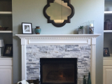 White marble fireplace tile ledger stone veneer San Jose