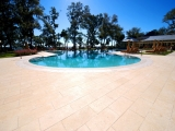 16x24 Tuscany Beige Ivory Travertine Pavers Tumbled outdoor patio around the pool Los Gatos