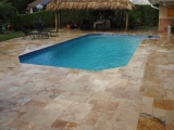 Rustic Travertine Pavers French Pattern Patio