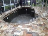 Scabos Travertine Pavers Pool Deck Tumbled pattern Los Gatos Bay Area