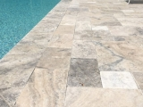 Silver travertine pavers french pattern napa bay area