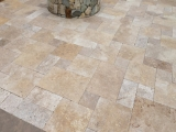 Tuscan Blend travertine stone pavers versailles pattern patio