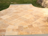 Tuscany Riviera Travertine Tumbled Pavers French Pattern Backyard Stone