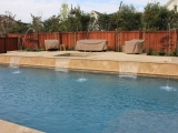 Walnut Travertine pool coping around the pool paver backyard Novato Bay Area
