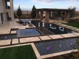 Walnut travertine pattern pavers patio and pool coping stone El Dorado Hills