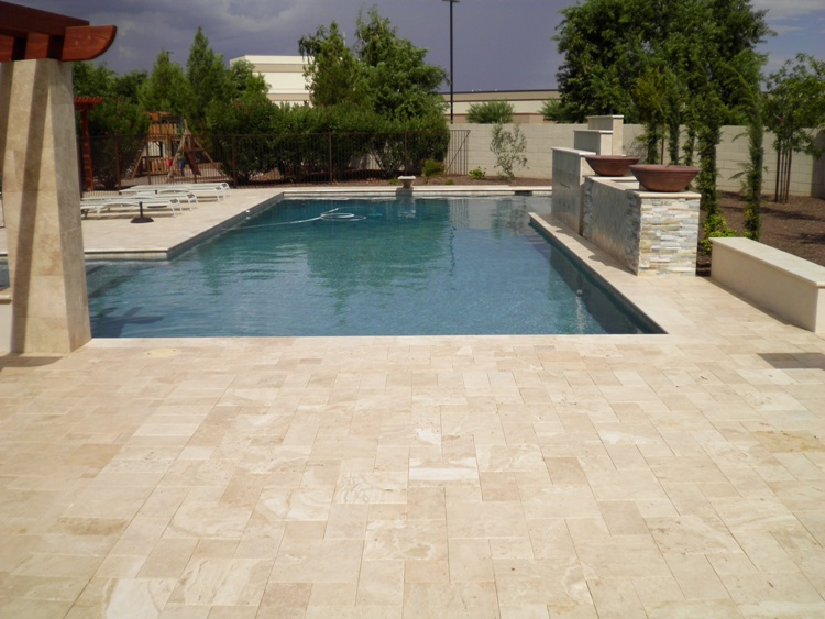 Ivory (Oxford) Travertine Pavers Tumbled Versailles Pattern