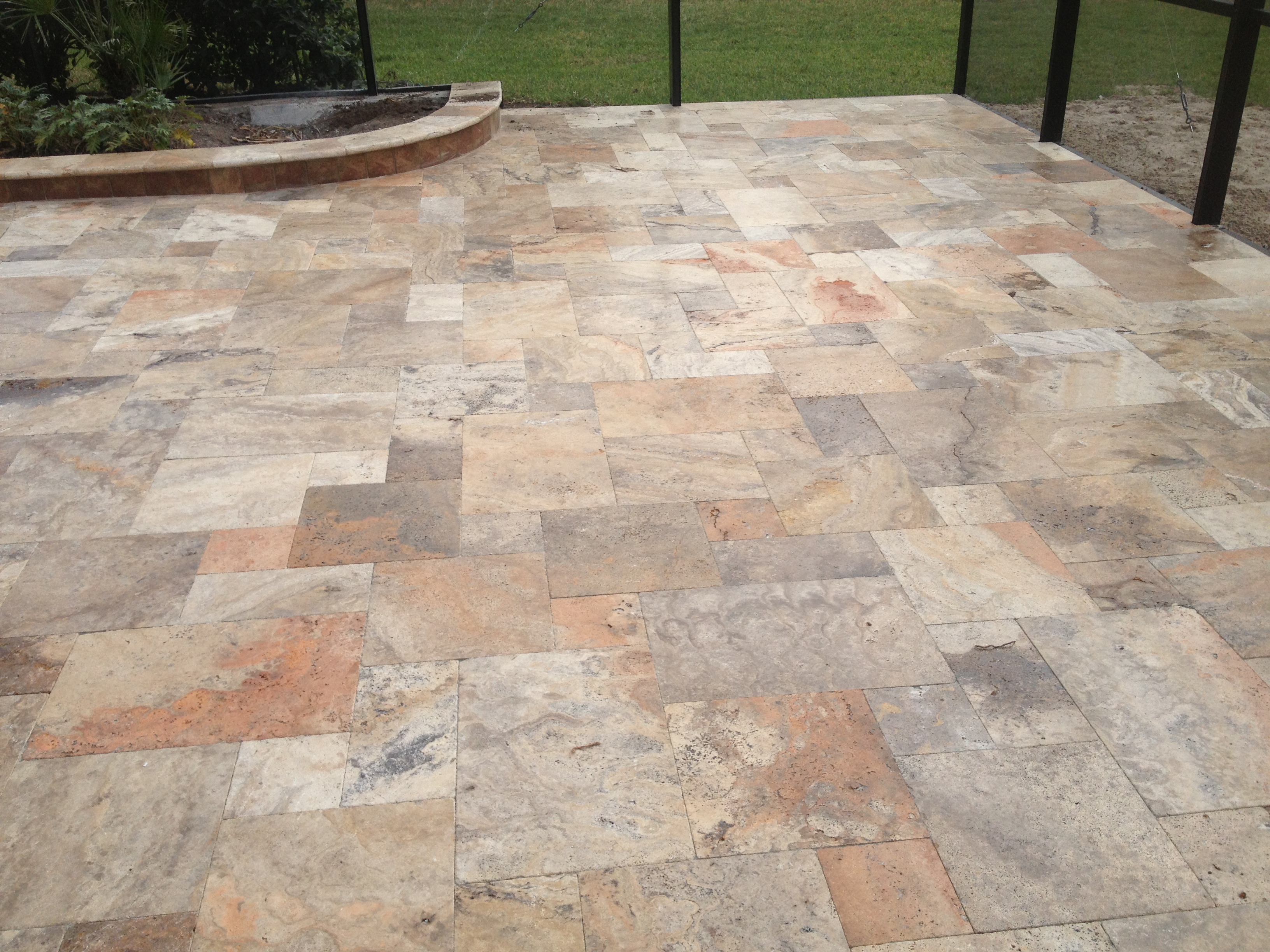 Scabos Travertine Tumbled Paver French Pattern Natural