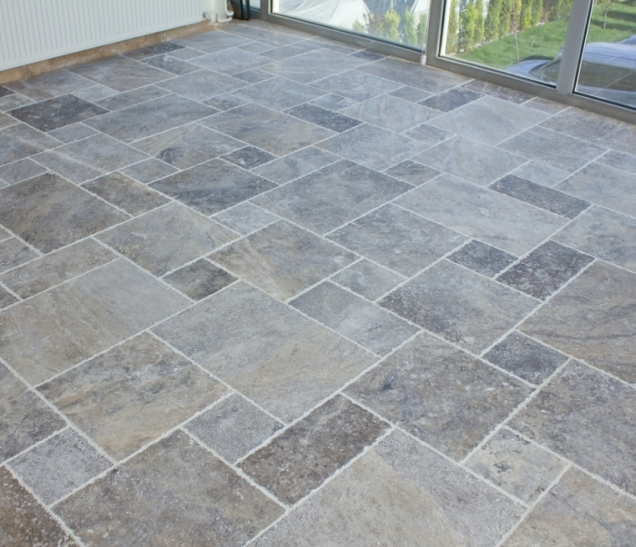 Silver Travertine Brushed Chiseled French Versailles