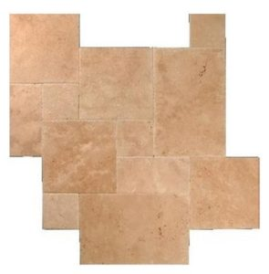 Walnut Travertine Brushed Chiseled French Pattern Tile