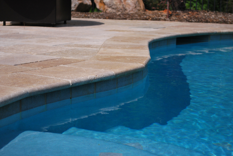 Walnut Travertine Tumbled Paver Decking And Coping