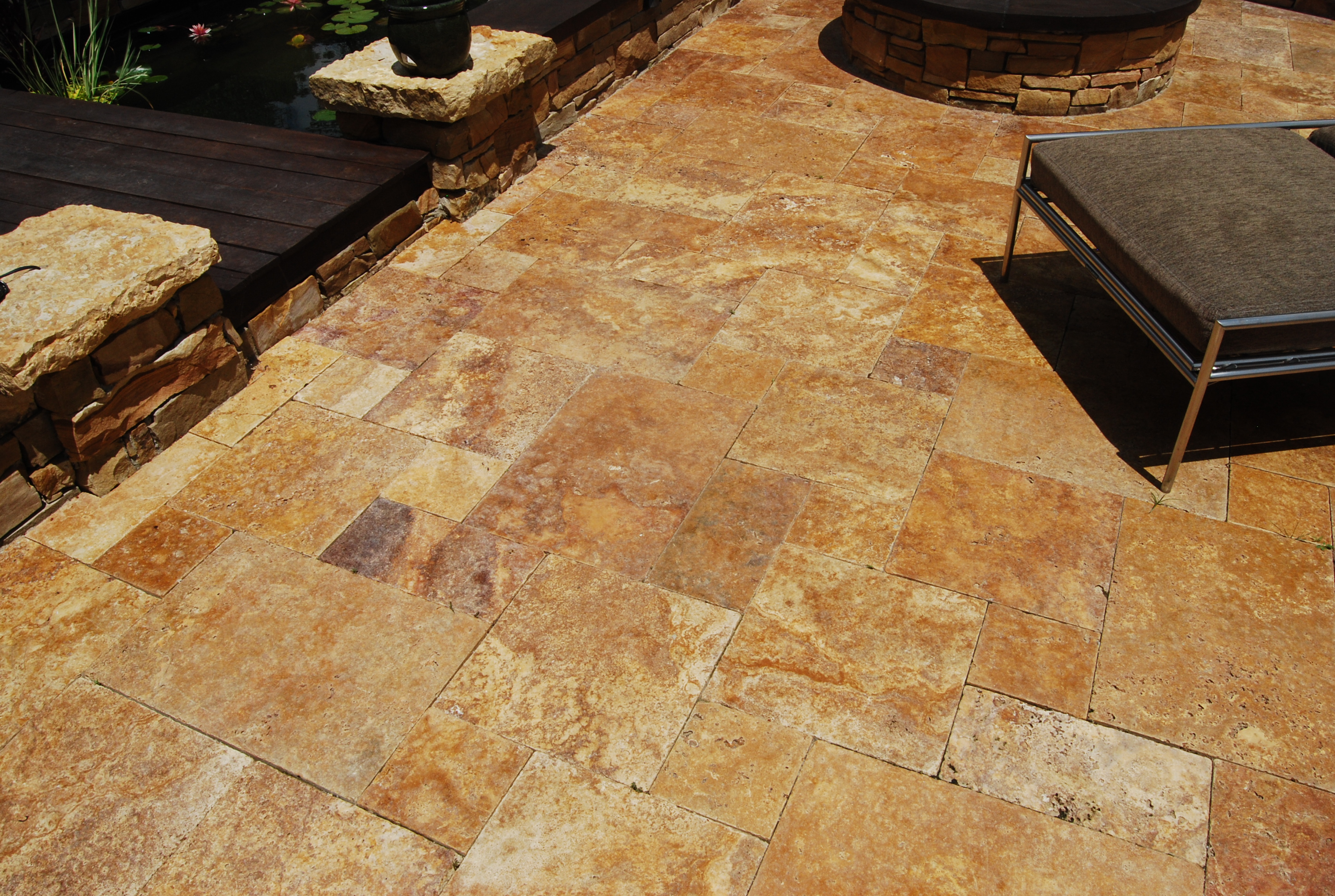 Gold Travertine Pavers Tumbled French Versailles Pattern Patio