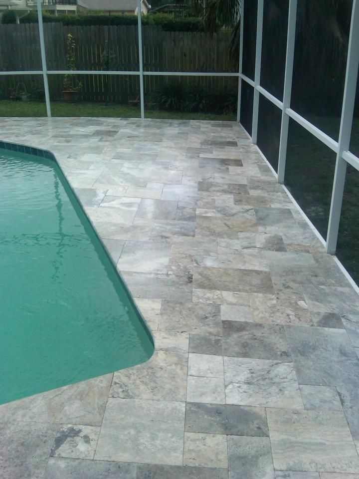 Silver Travertine Pavers Tumbled French Pattern