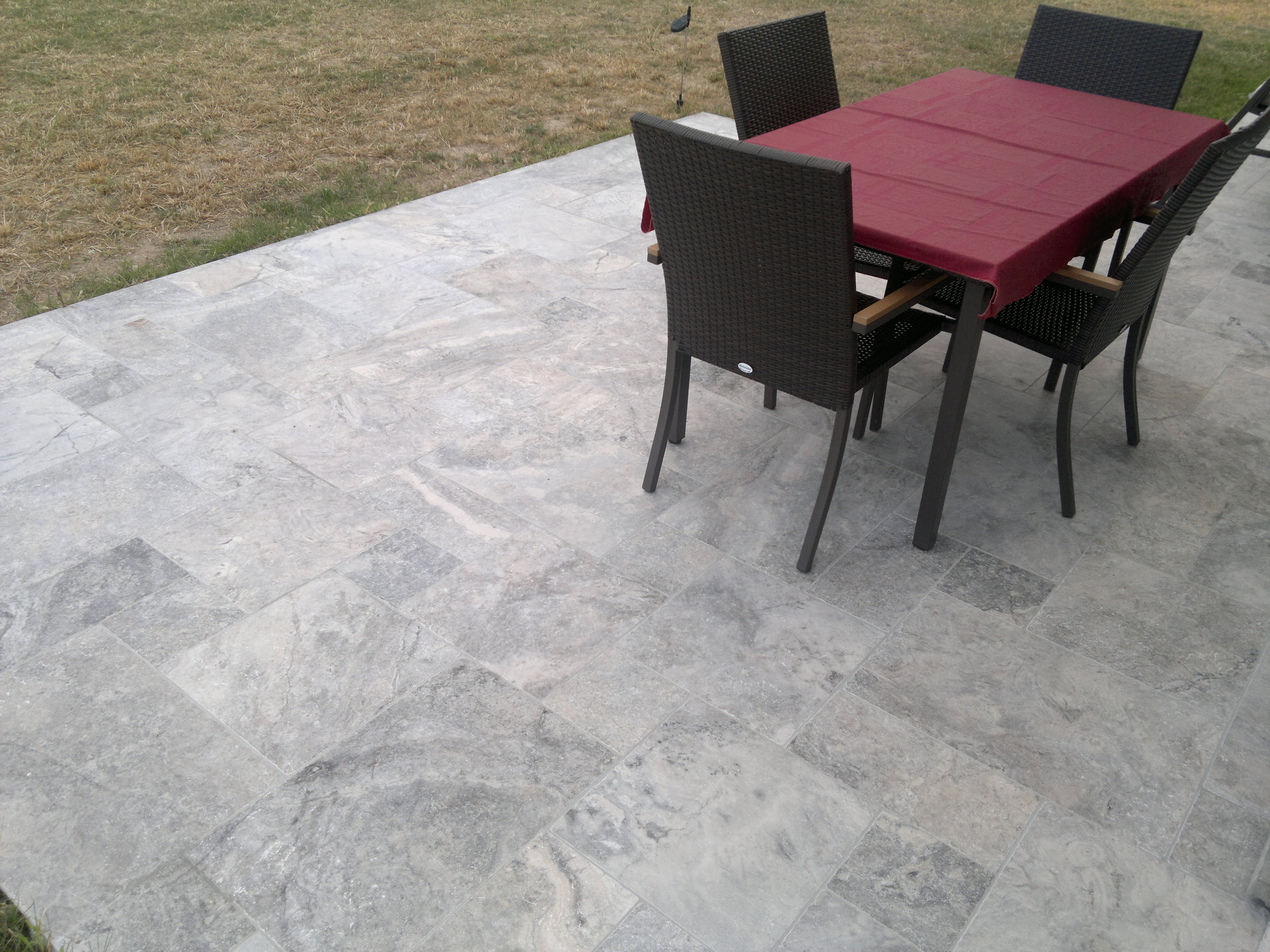Silver Travertine Tumbled Pavers French Pattern