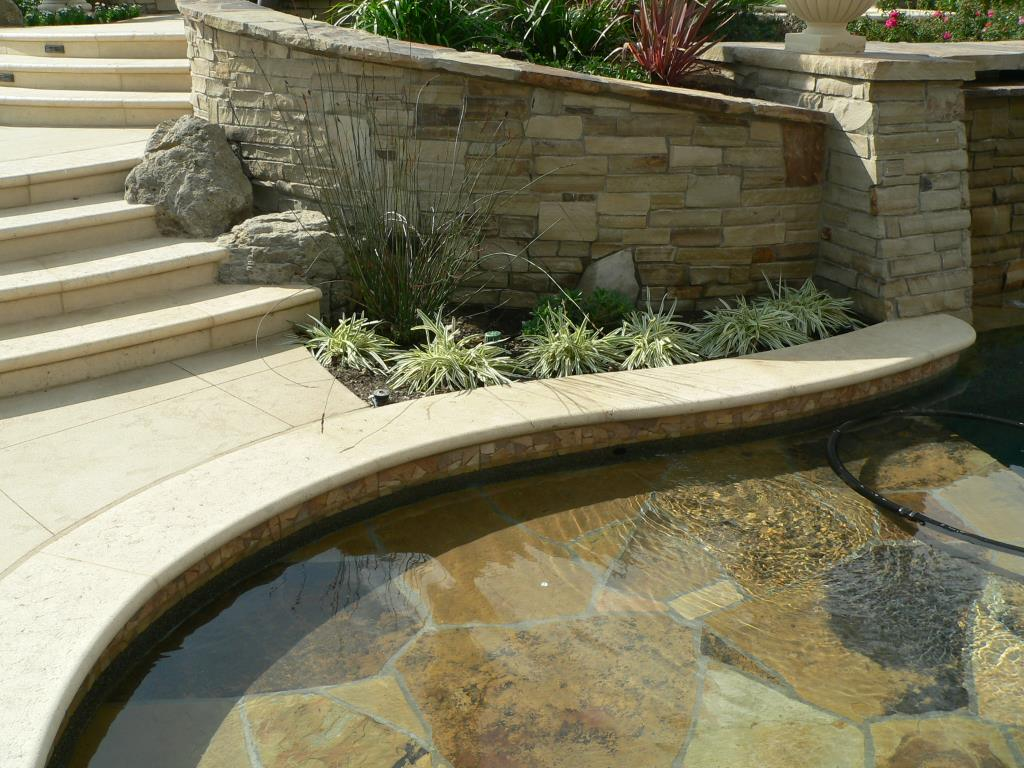 Beige color ivory travertine pool coping for pool decks