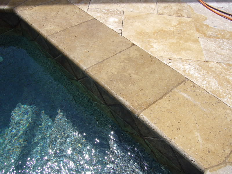 Noce Travertine Coping in San Jose