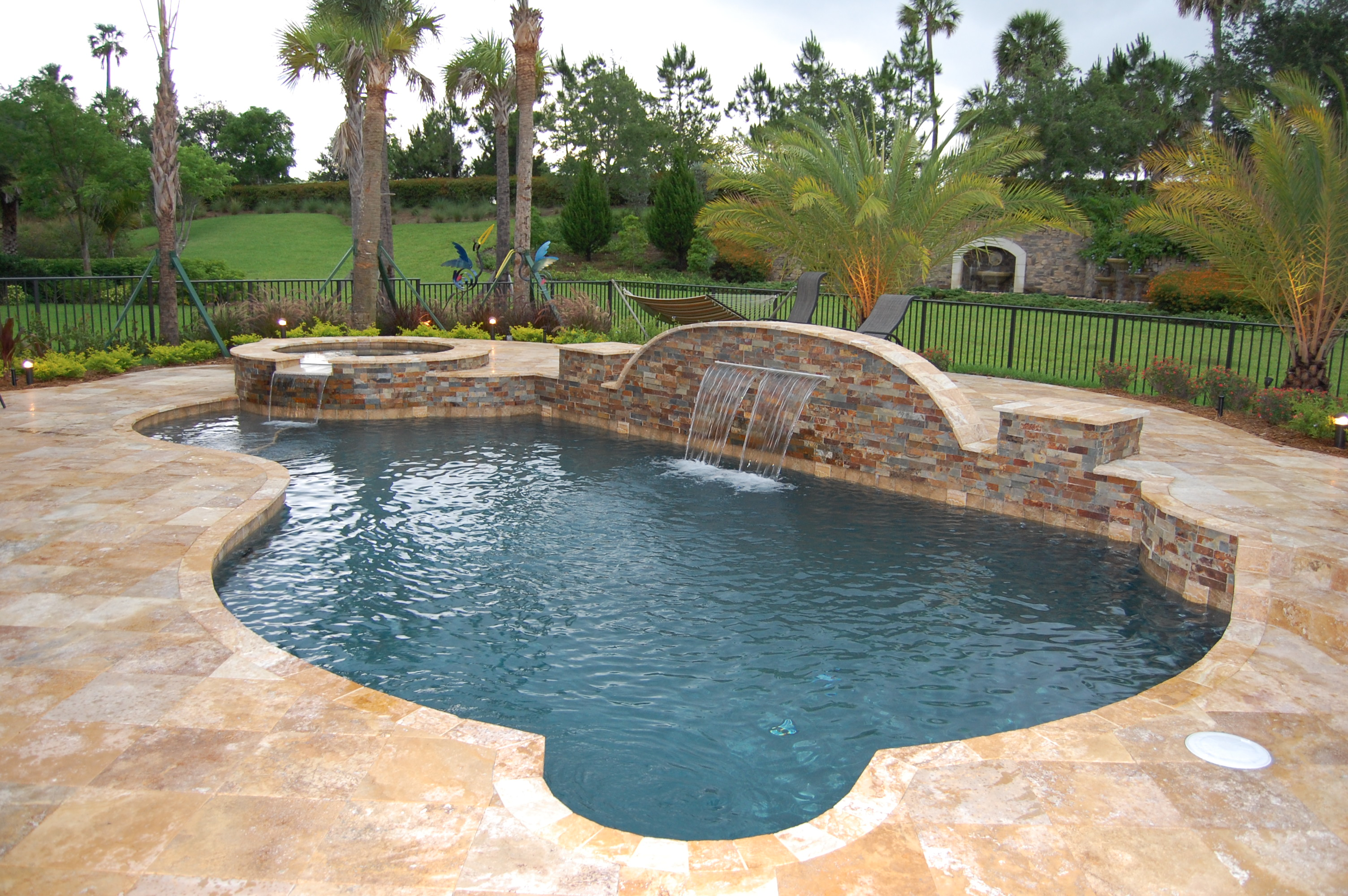 Gold Travertine Pool Coping Gold Travertine Pool Deck